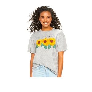 Awake Sunshine Sunflowers Graphic Tee Gray XXL